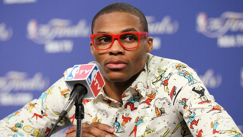 We can maybe live with the shirt, Russell Westbrook, but those giant lens-free glasses have got to go.