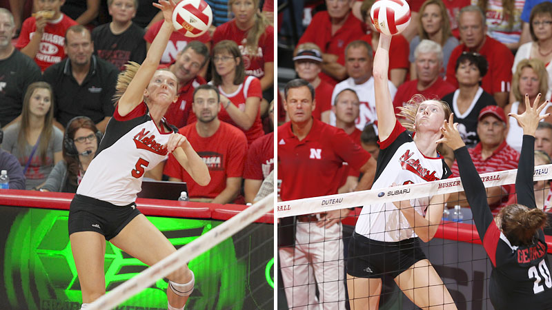 Freshman twins Amber Rolfzen, left, and Kadie Rolfzen are hoping to power eighth-seeded Nebraska to Seattle.