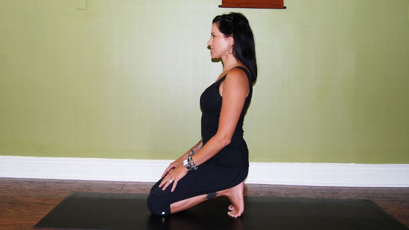A favorite pose of mine to eliminate the cramping or plantar fascia problems that getting locked in your skates may cause over time. Hold this for two to three minutes, breathing and focusing on the deep opening in the arches.