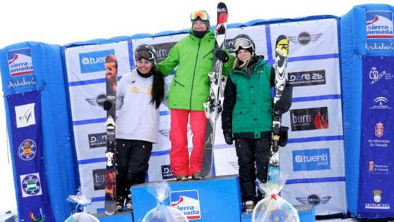 Julia Marino on the podium in second place, far left, at the FIS World Cup slopestyle contest in Sierra Nevada, Spain, last spring.