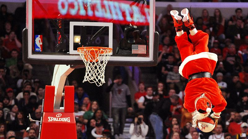 Is there anything more festive than a dunking mascot dressed up as Santa Claus?