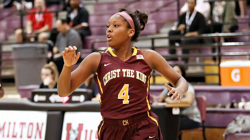 Duke signee Sierra Calhoun, the No. 17 prospect in the 2014 class, and Christ the King (N.Y.) came up just short in their first-round matchup with St. Mary's (Berekeley, Calif.). (Photo: Bruce Yeung/Icon SMI)