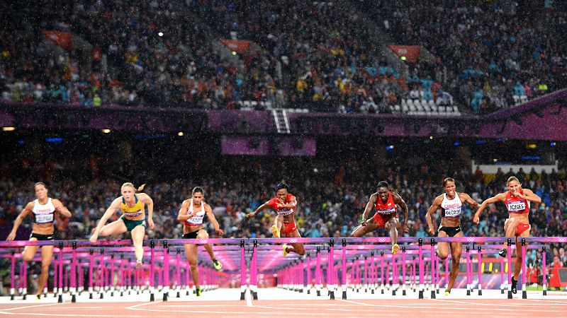 Despite the hype and headlines entering the Games, Jones, far right, finished in fourth place in the 100-meter hurdles in London. Australian Sally Pearson took home the gold and Americans Dawn Harper and Kellie Wells earned the silver and bronze. (Photo: Olivier Morin/AFP/GettyImages)