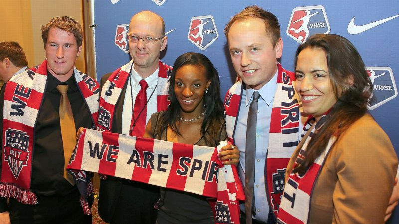 No. 1 overall Crystal Dunn, center, should add badly needed scoring and make her Washington Spirit bosses very happy.