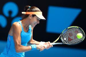 Serbia's Ana Ivanovic returns a shot during her fourth-round stunner over No. 1 Serena Williams.