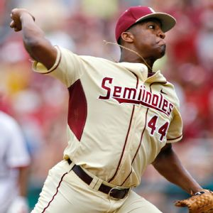 Heisman Trophy winner Jameis Winston was 1-2 with two saves and a 3.00 ERA last season for Florida State. He had 21 strikeouts and 12 walks in 27 innings pitched. At the plate, he hit .235 with seven doubles and three triples in 41 games.