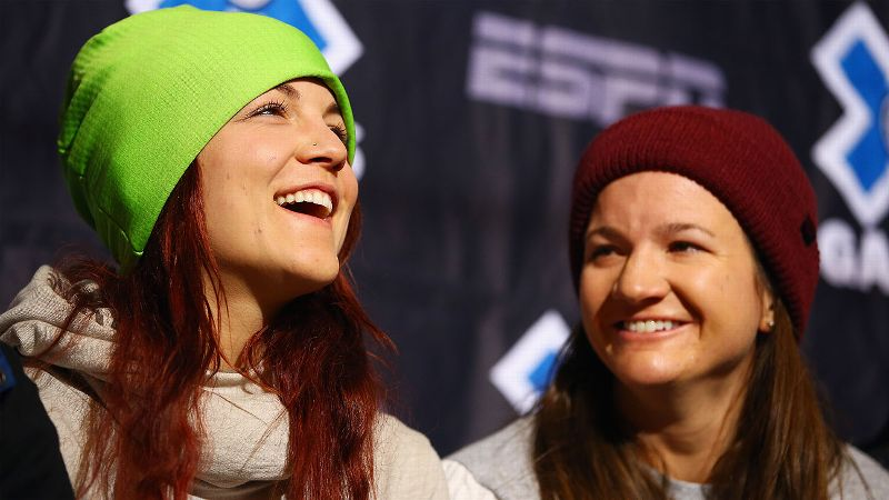 Elena Hight shares a laugh with fellow snowboarder Kelly Clark at X Games Aspen.