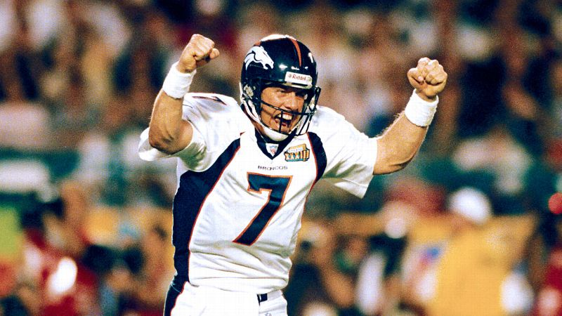 John Elway celebrates during the Broncos' last Super Bowl victory in 1999.