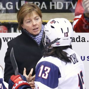 Katey Stone, 47, is the first woman to coach the women's Olympic hockey team.