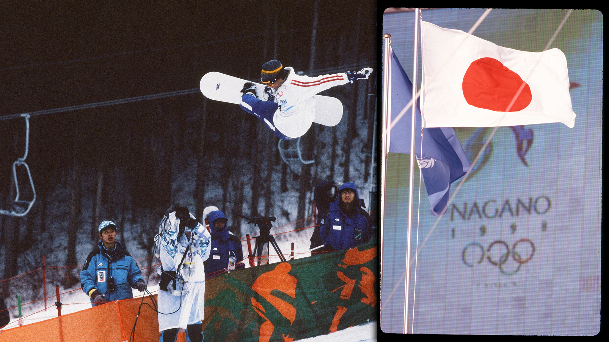Guillaume Chastagnol of France rides his way to fifth place in front of empty stands at the first Olympic halfpipe event in Nagano, Japan.