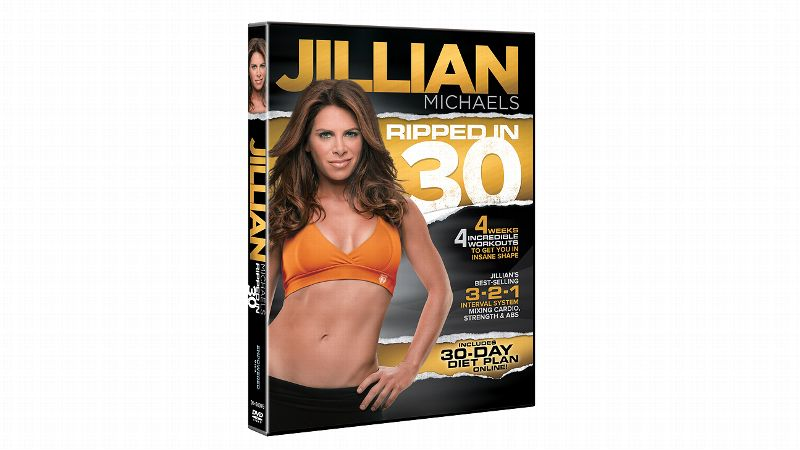 Ripped in 30 (14.98) is a 30-day diet and exercise plan from Jillian Michaels. She incorporates an interval system into each 24-minute workout: three minutes of strength, two minutes of cardio and one minute of abs. Each week features a new routine, and they increase in difficulty over the four-week period. The moves get harder and more creative as you progress. All you need are dumbbells and a mat.