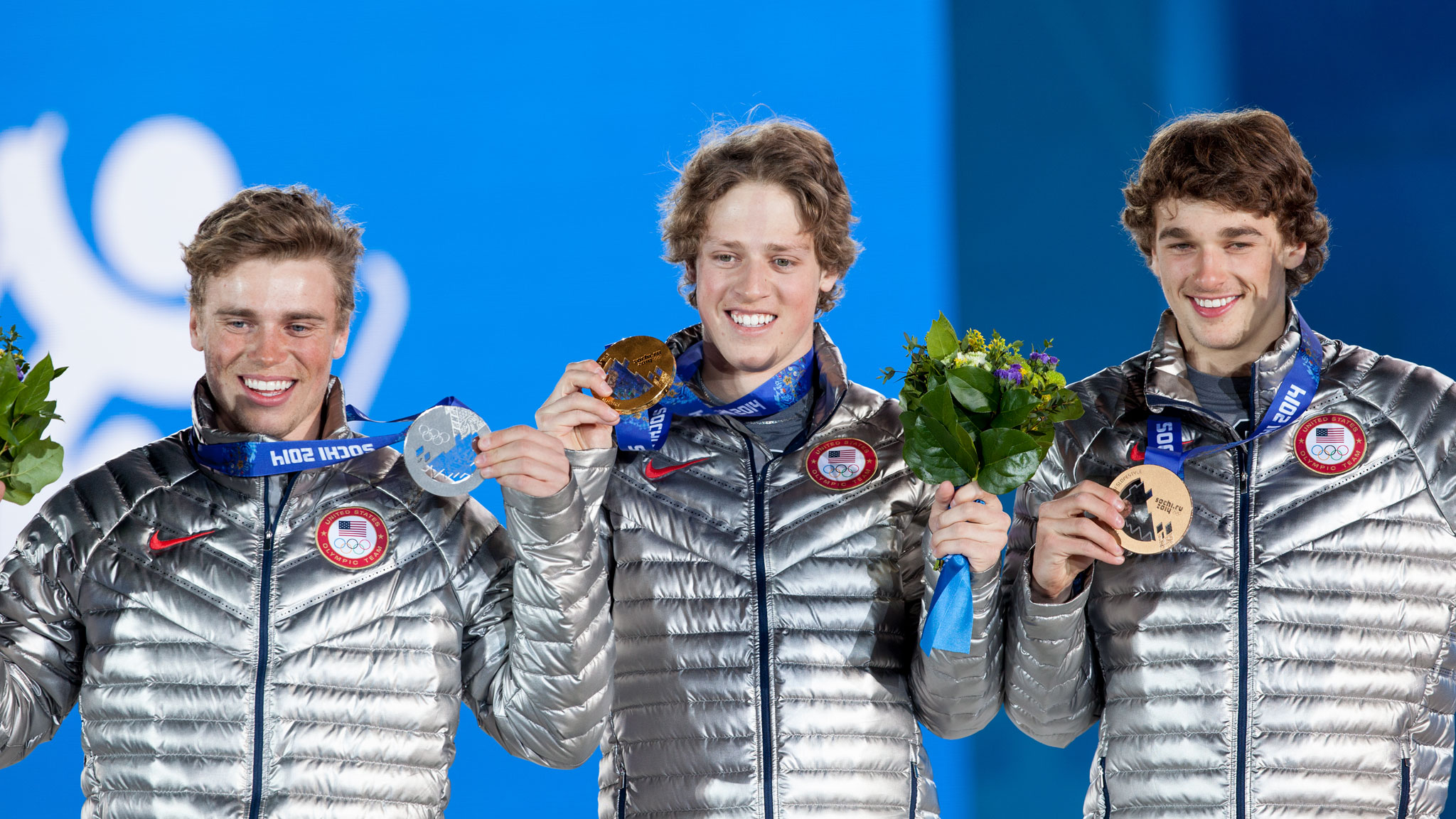 Americans Gus Kenworthy, Joss Christensen and Nick Goepper, who swept the slopestyle podium in Sochi.
