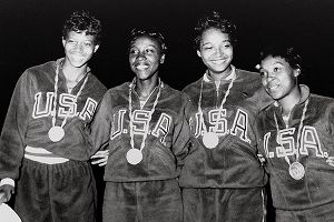 From left, Wilma Rudolph, Barbara Jones, Lucinda Williams and Martha Hudson, all Tigerbelles from TennesseeState University, pose with their gold medals from the 4x100 relay.