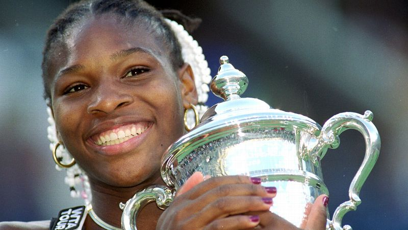 Before she was the top-ranked player she is today, Serena Williams was just a fresh-faced teenager from Compton, Calif. Serena served notice in the tennis community with her doubles win with sister Venus at the French Open in 1999. But she became a national sensation when she beat Martina Hingis for the US Open title in just her second full year on the tour. She became just the second African-American woman to win a Grand Slam singles title. Starting with her breakthrough moment at Flushing Meadows, Serena has won 17 Grand Slam singles titles, 13 in women's doubles and two in mixed doubles. She is the only female player in history to have surpassed the 50 million mark in career earnings.