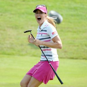 Paula Creamer celebrates her 75-foot eagle putt to clinch the victory Sunday.