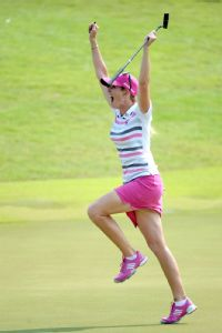 Paula Creamer won the HSBC Women's Champions, her first LPGA title since 2010, after sinking a 75-foot eagle putt to beat Azahara Munoz in a playoff.