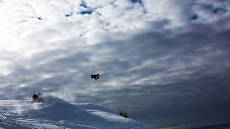 Tim Durtschi skiing and filming earlier this winter in Les Arcs, France.