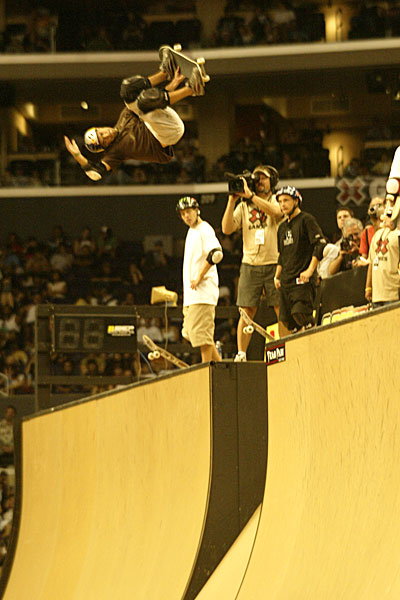 Sandro Dias spins a 900 over the channel at X Games in 2005. He was the third skater to land the trick, in 2004.