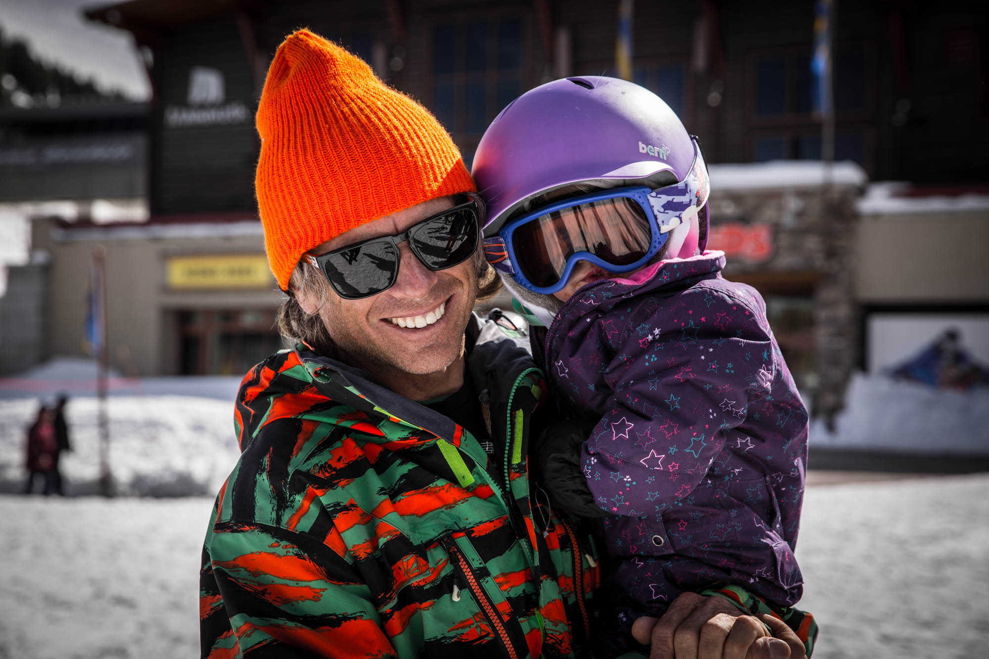 Local legend and big mountain pioneer Steve Klassen and his daughter. Klassen, who owns Wave Rave snowboard shop, is one of the reasons Mammoth is a snowboarding mecca, having fostered an environment that produced riders like Eric and John Jackson,  and before them, Billy and Jeff Anderson.