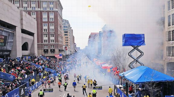 On April 15 at 2:49 p.m., the first of two bombs exploded near the finish line of the Boston Marathon.