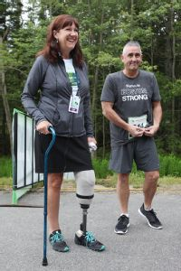 Karen Rand was waiting for her then-boyfriend (now-husband) Kevin McWatters at the marathon finish line when the bombs went off. She lost part of her left leg in the blast.