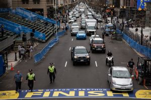 Police patrolled the Boston Marathon finish line on Monday, a day before the one-year anniversary of the bombings.
