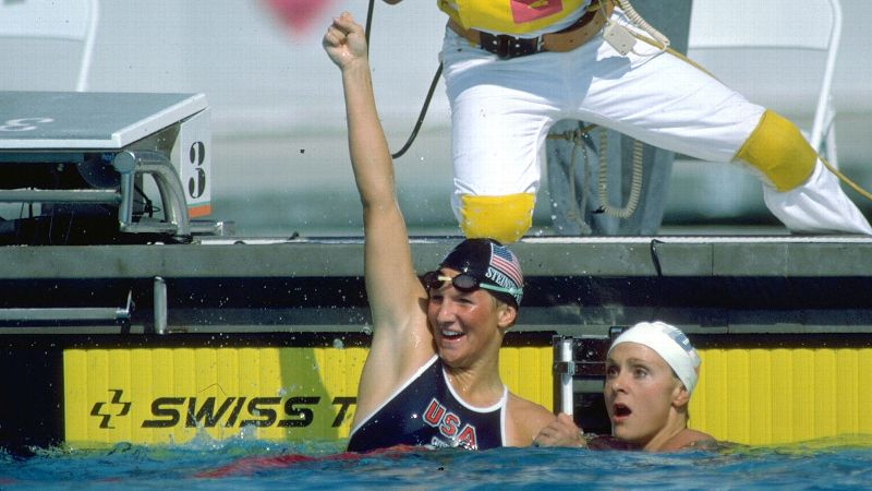 Nancy Hogshead-Makar, right, and Carrie Steinseifer tied for Olympic gold in the 100-meter freestyle at the 1984 Games.
