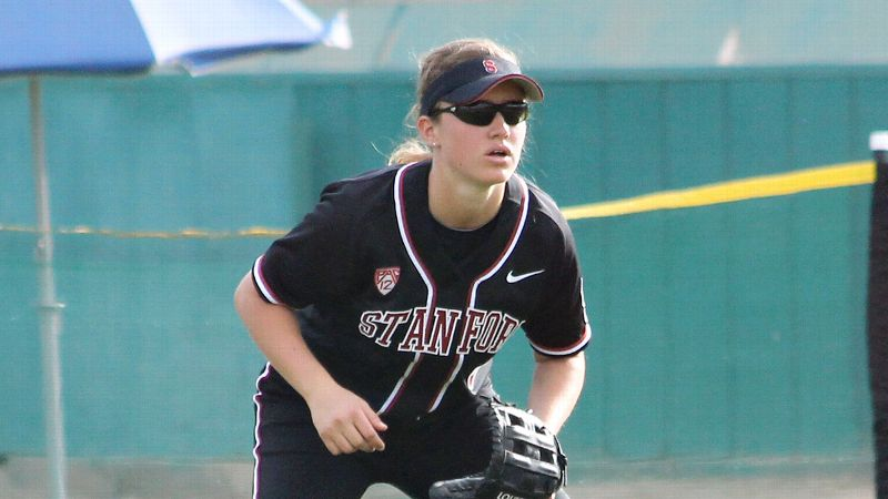 Stanford freshman softball outfielder Bessie Noll has great bat speed, developed over years of baseball training.