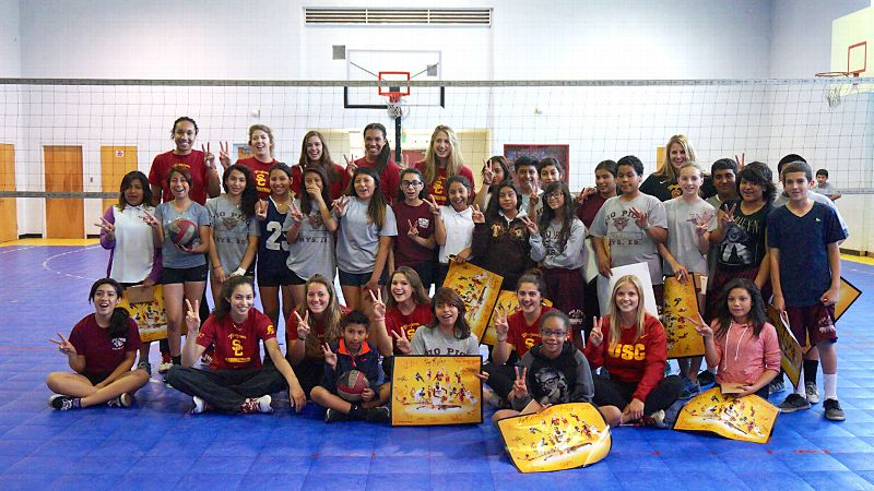The USC women's volleyball team visited Pio Pico Middle School as part of the SCORE Initiative.