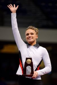 Arkansas' Katherine Grable won the floor exercise championship in the individual event competition, giving Arkansas its first NCAA gymnastics title.
