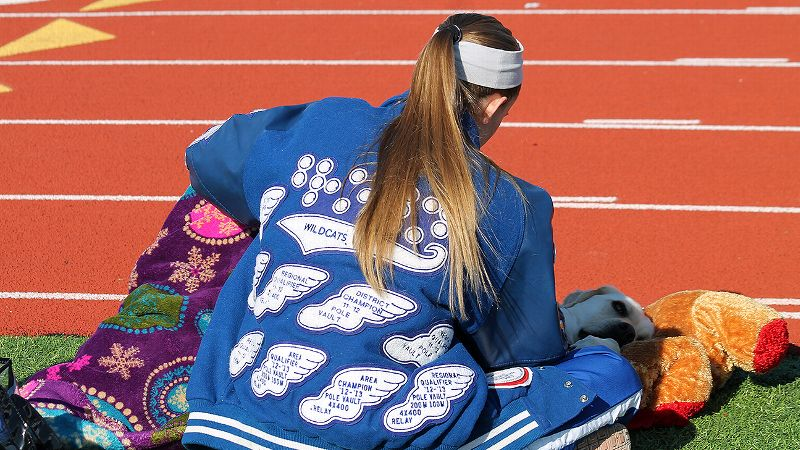 A letter jacket in Braille highlights Charlotte Brown's many accomplishments on the Texas tracks.