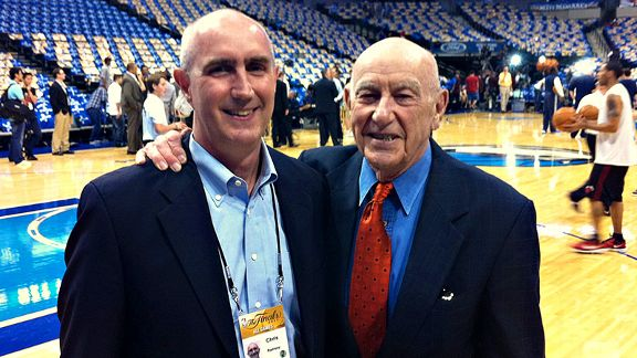 Chris Ramsay, left, working alongside his father, Dr. Jack Ramsay, at the 2011 NBA Finals in Dallas.