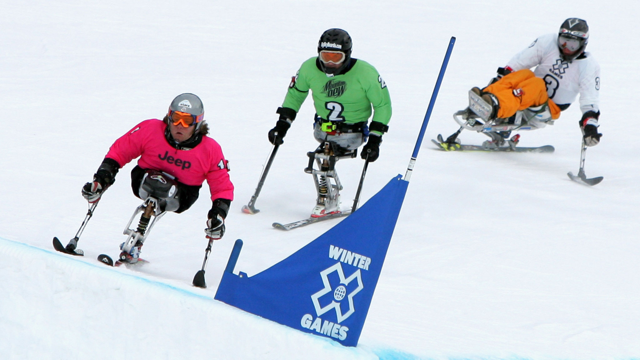 Tyler Walker, from Franconia, N.H., leads Kevin Connolly and Kees-Jan van der Klooster as they finished in that order to take home the medals in the inaugural Mono Skier X at Winter X Games 11 in 2007.