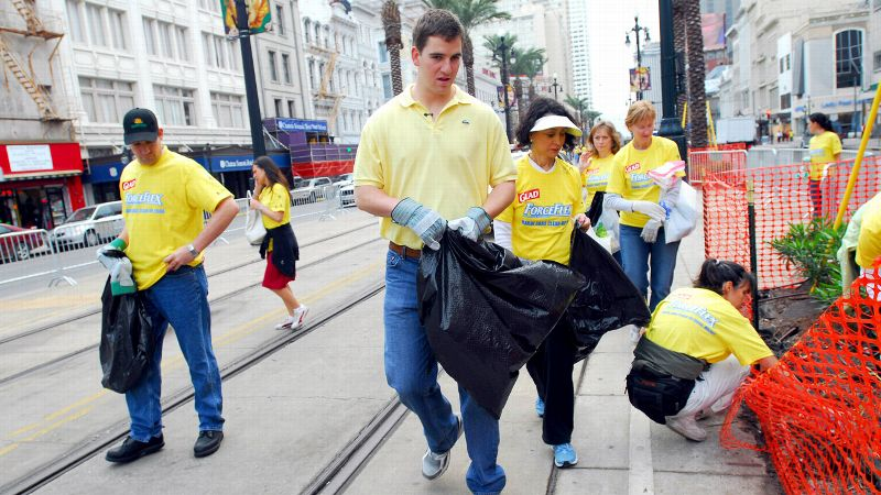 Eli Manning, one of many sports stars to call Louisiana home, has worked with Katrina Krewe to clean up the streets of New Orleans.