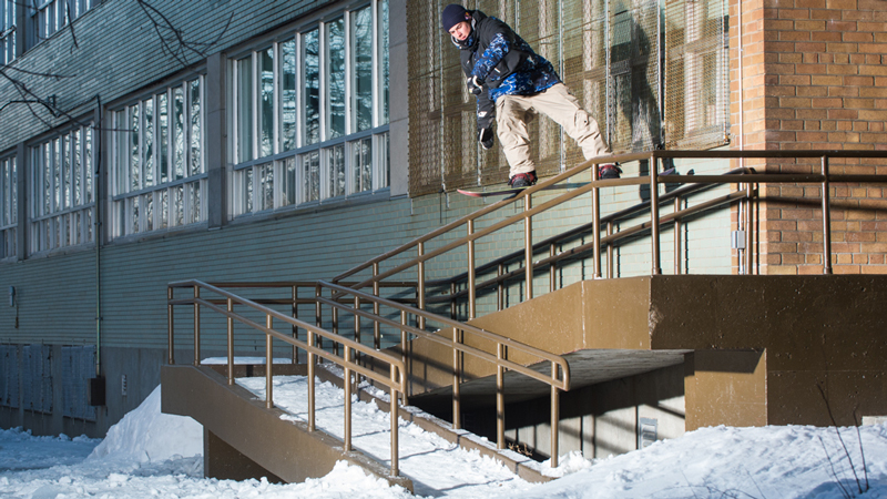 Toutant purposefully kept his crew tight so they could get in and out of spots quickly and avoid the bust. It was such a good snow year in the city this season, says Toutant. It opened up all these great spots.