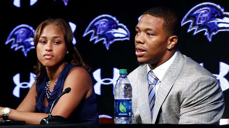 Jenay and Ray Rice speak at a press conference about an alleged domestic violence incident that was caught on video.