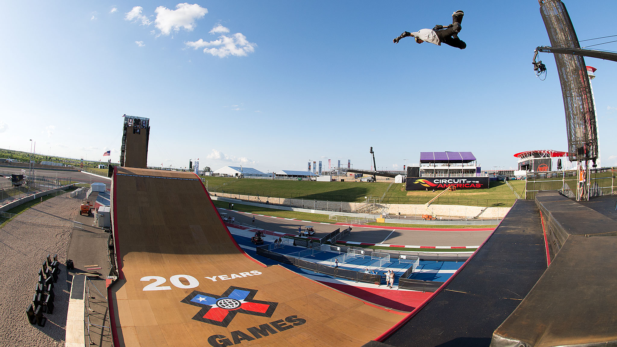 Sloan takes a big air sample in practice at X Games Austin on Tuesday.