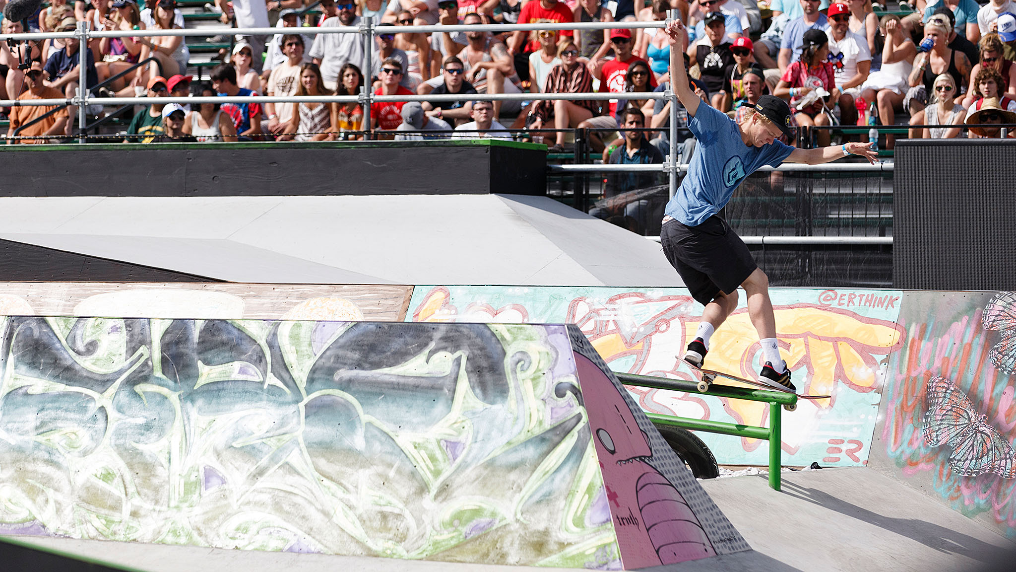 At 18, rookie Alec Majerus, from Rochester, Minnesota, was the youngest skateboarder in the X Games Austin Monster Energy Skateboard Street field. After an impressive placing at Tampa Pro earlier this year, Majerus earned an invite to Austin and coasted through Round 1 to finish third in the Skateboard Street finals.