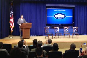 Daniel Murphy was at the White House on Monday to speak at the Working Families Summit about being a working father and parental rights.