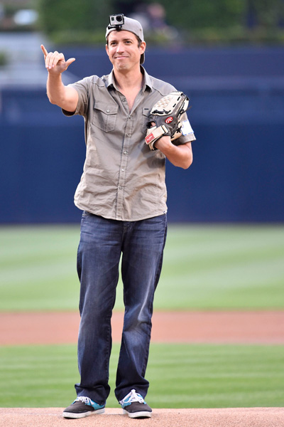 GoPro CEO Nick Woodman throws out the first pitch for the Padres/Nationals game in San Diego earlier this month.