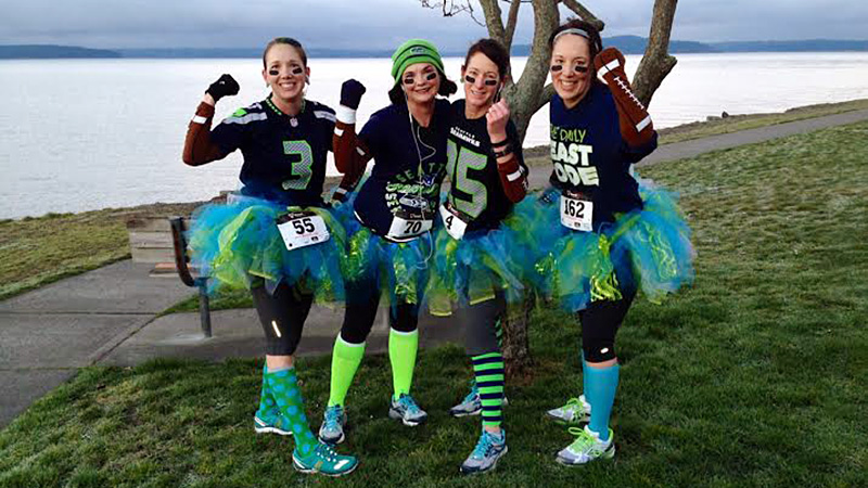 Bonnie Gilbert of Seattle and her friends embraced the running tutu for their race: This is my running buddies and me before the West Seattle Fat Ass 25/50K. Because it was Super Bowl Sunday, we were dressed to support the Seahawks.