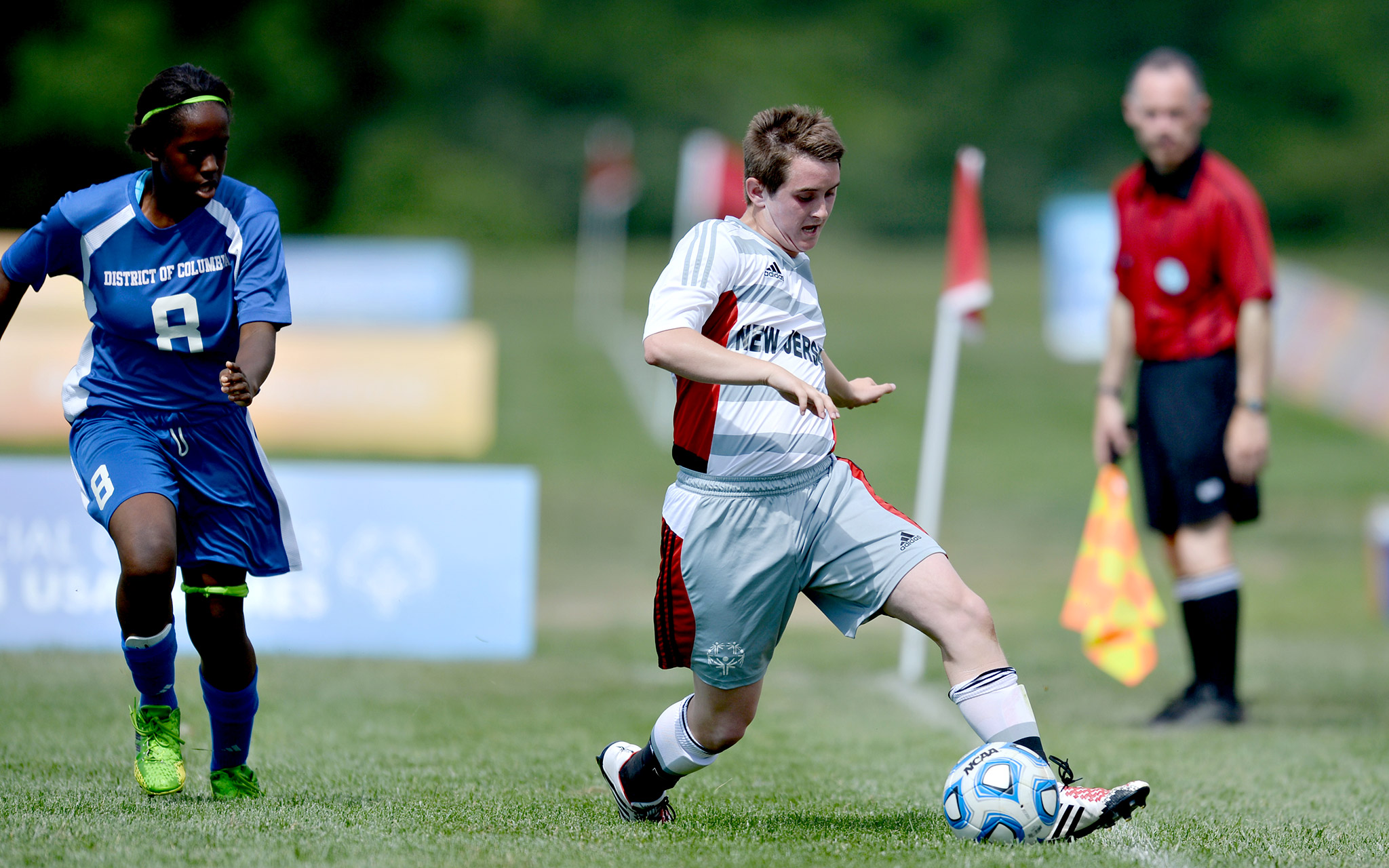 Teams from the District of Columbia and New Jersey were among the many traditional (Special Olympics athletes) and Unified Sports (athletes with and without intellectual disabilities) five-a-side soccer teams at the 2014 USA Games.