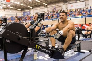 Top contender Jason Khalipa on the rower.