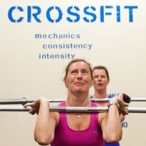 Women work out at the Kent and Sussex CrossFit in England.