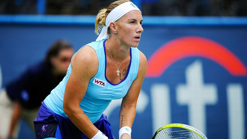 Svetlana Kuznetsova, of Russia, waits for the ball against Polona Hercog, of Slovenia, during a match in the Citi Open tennis tournament, Monday, July 28, 2014, in Washington. (AP Photo/Nick Wass