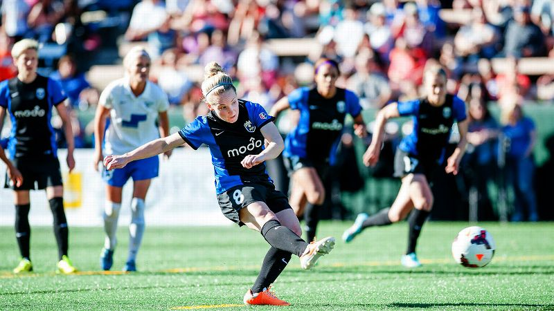 Seattle Reign FC midfielder Kim Little, a Scotland native, leads the NWSL with 12 goals. She's also tied for fourth in assists (five).