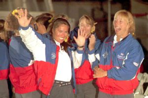 The America 3's all-female team christened and celebrated their new boat in 1995. The team ultimately lost the America's Cup, but is remembered to this day for its inspiring conception.