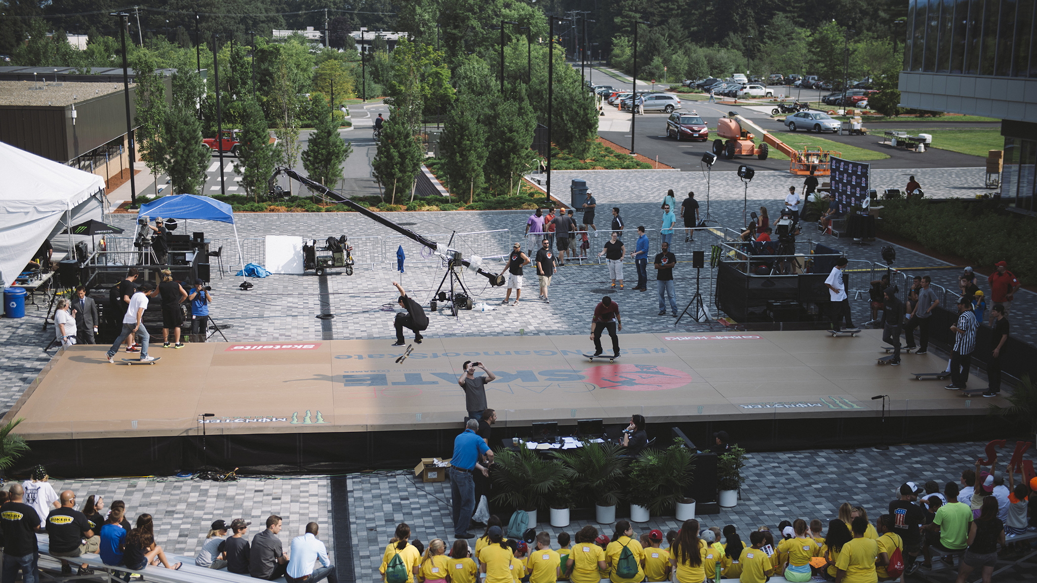 This was the scene from ESPN campus in Bristol, Connecticut for the inaugural World Of X Games Game of Skate. Eight of the world's best skateboarders were invited to compete in a head-to-head flat ground competition, and in between, randomness ensued. What follows is an inside look at a not-so-usual day at ESPN.