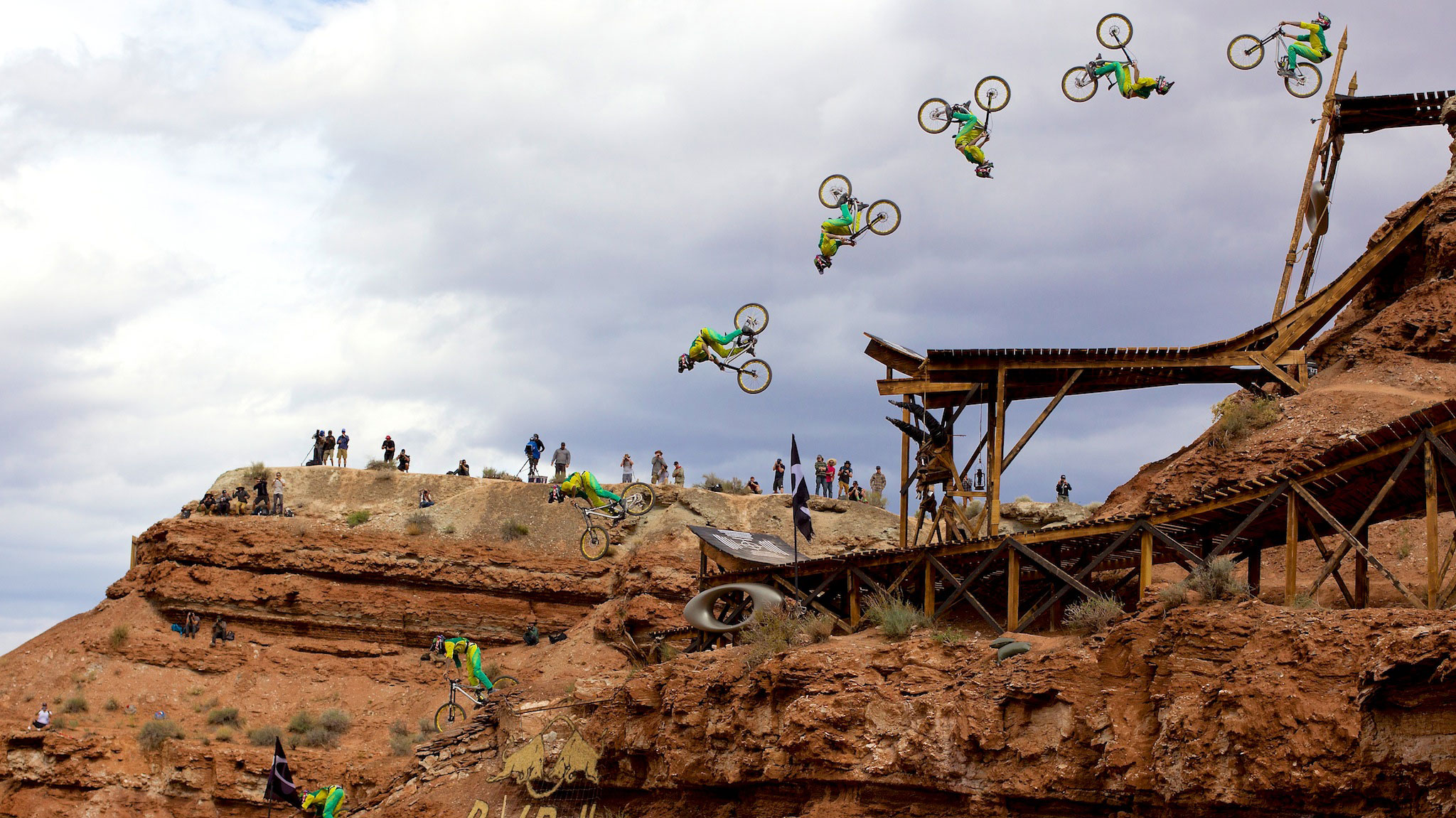 Cam Zink launches a 78-foot step-down backflip, an unofficial record, on his way to a third-place finish at the 2013 Red Bull Rampage outside Zion National Park in Utah.