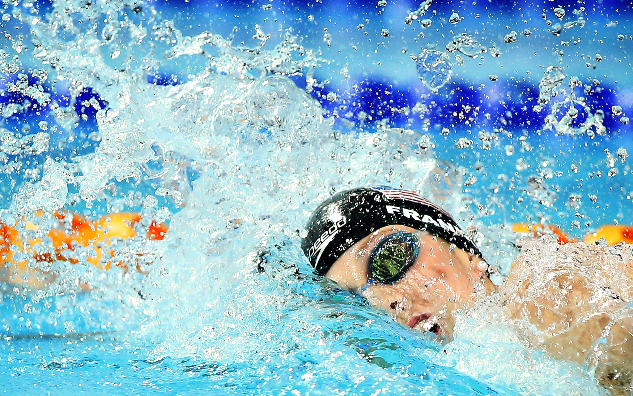 American Missy Franklin swims in the women's 200-meter freestyle B final during Day 1 of the Pan Pacific championships at Gold Coast Aquatics in Australia.  Franklin, hampered by back spasms, didn't qualify for the A final.